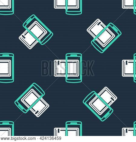 Line Smartphone And Book Icon Isolated Seamless Pattern On Black Background. Online Learning Or E-le