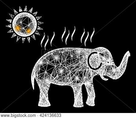 Shiny Crossing Mesh Elephant Under Sun Heat Carcass With Flash Nodes. Illuminated Vector Mesh Create