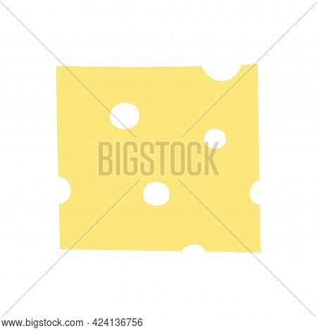 Piece Of Cheese, Slice Food, Flat Cartoon Illustration, Slice Of Cheese Isolated On White Background