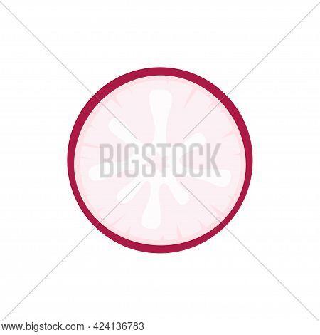 Slice Of Red Radish Isolated On White Background, Vector Illustration In Cartoon Flat Style, Organic