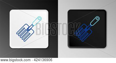 Line Garden Fork Icon Isolated On Grey Background. Pitchfork Icon. Tool For Horticulture, Agricultur