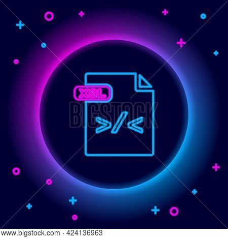 Glowing Neon Line Xsl File Document. Download Xsl Button Icon Isolated On Black Background. Excel Fi