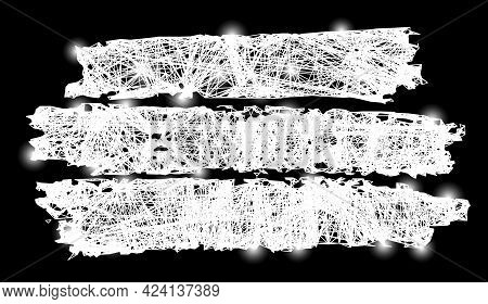 Bright Net Mesh Charcoal Texture Template Model With Bright Dots. Illuminated Vector Model Created F