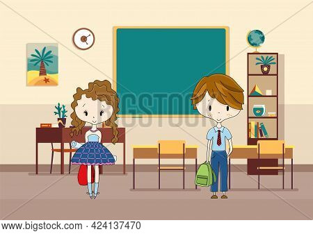 Classroom With Pupils. Primary School Kids. Modern Interior For Education. Boy And Girl Characters R