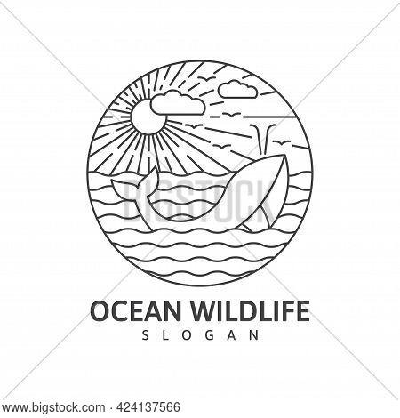 Ocean Wildlife Whale Monoline Outdoor Nature Vector Illustration