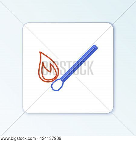 Line Burning Match With Fire Icon Isolated On White Background. Match With Fire. Matches Sign. Color