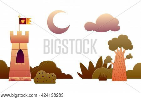 Theater Stage Scenery. Vector Cartoon Illustration Of Theatre Scene With Decorations. Elements For A