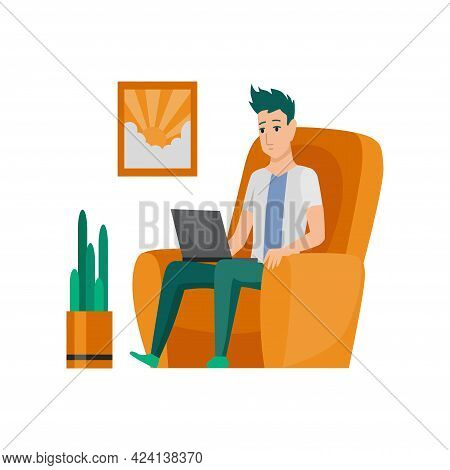 Freelance Man Working At Home In Comfortable Conditions. Cartoon Character Work From Home. Spend Tim