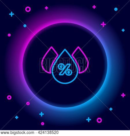 Glowing Neon Line Water Drop Percentage Icon Isolated On Black Background. Humidity Analysis. Colorf
