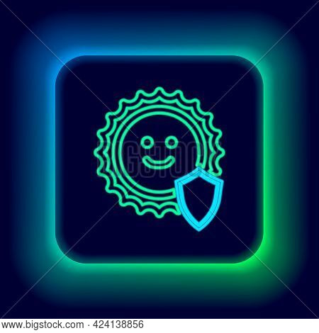 Glowing Neon Line Uv Protection Icon Isolated On Black Background. Sun And Shield. Ultra Violet Rays