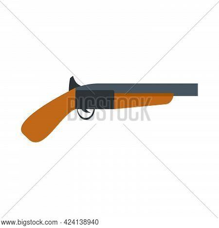 Flintlock Gun Handgun Weapon Pistol Antique. Old Military Flintlock Wooden Retro Illustration Pirate