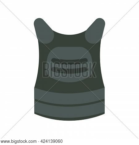 Body Armor Soldier Vector Illustration Military Equipment Icon. Uniform Armor Body Isolated White. A