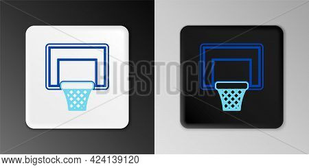 Line Basketball Ball And Basket Icon Isolated On Grey Background. Ball In Basketball Hoop. Colorful