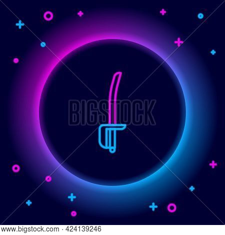 Glowing Neon Line Pirate Sword Icon Isolated On Black Background. Sabre Sign. Colorful Outline Conce