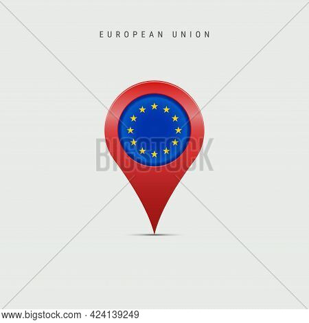 Teardrop Map Marker With Flag Of European Union. Eu Flag Inserted In The Location Map Pin. Vector Il