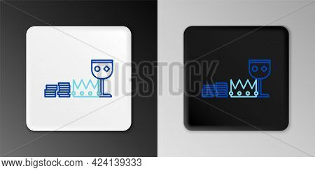 Line Treasure And Riches Icon Isolated On Grey Background. Treasure, Gold, Coins, Jewels, Crown, Gol