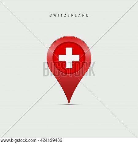 Teardrop Map Marker With Flag Of Switzerland. Swiss Flag Inserted In The Location Map Pin. Vector Il