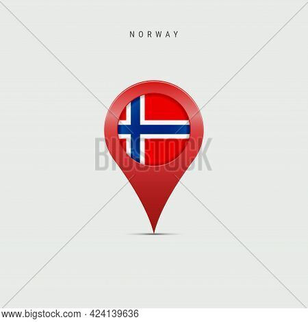 Teardrop Map Marker With Flag Of Norway. Norwegian Flag Inserted In The Location Map Pin. Vector Ill