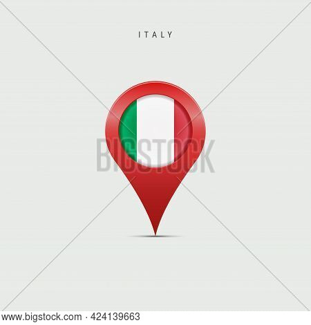 Teardrop Map Marker With Flag Of Italy. Italian Flag Inserted In The Location Map Pin. Vector Illust