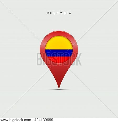 Teardrop Map Marker With Flag Of Colombia. Colombian Flag Inserted In The Location Map Pin. Vector I