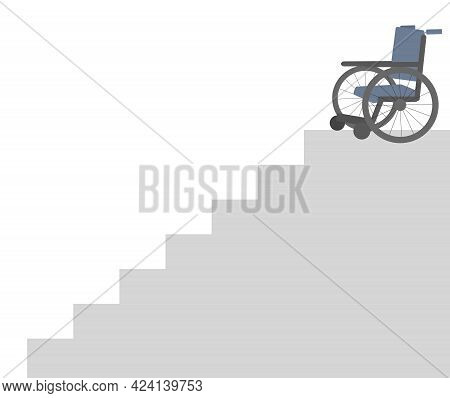 Empty Wheelchair In Danger At The Top Of A Steep Stairway, Digital Illustration