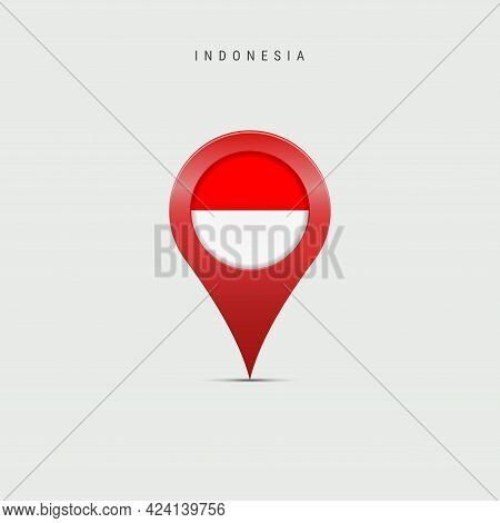 Teardrop Map Marker With Flag Of Indonesia. Indonesian Flag Inserted In The Location Map Pin. Vector