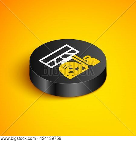 Isometric Line Racing Simulator Cockpit Icon Isolated On Yellow Background. Gaming Accessory. Gadget