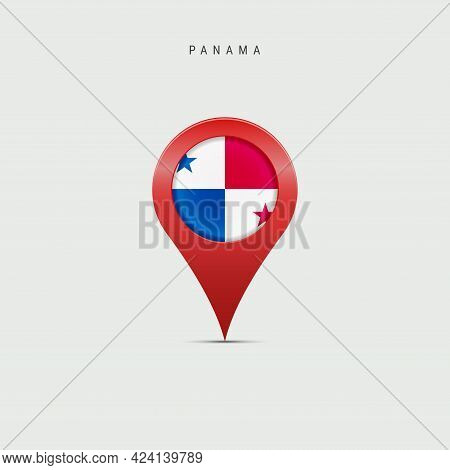 Teardrop Map Marker With Flag Of Panama. Panamanian Flag Inserted In The Location Map Pin. Vector Il