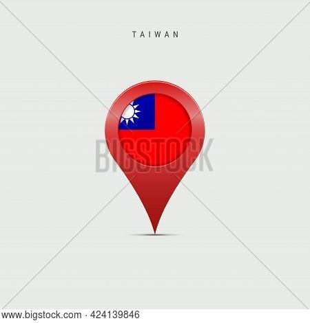 Teardrop Map Marker With Flag Of Taiwan. Taiwanese Flag Inserted In The Location Map Pin. Vector Ill