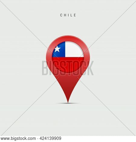 Teardrop Map Marker With Flag Of Chile. Chilean Flag Inserted In The Location Map Pin. Vector Illust