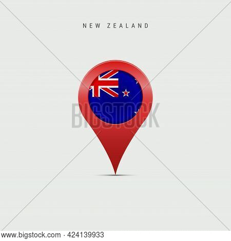 Teardrop Map Marker With Flag Of New Zealand. Kiwi Flag Inserted In The Location Map Pin. Vector Ill