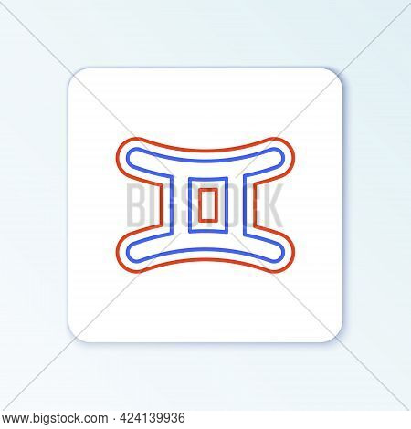 Line Gemini Zodiac Sign Icon Isolated On White Background. Astrological Horoscope Collection. Colorf