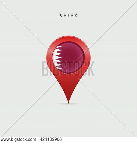 Teardrop Map Marker With Flag Of Qatar. Qatari Flag Inserted In The Location Map Pin. Vector Illustr