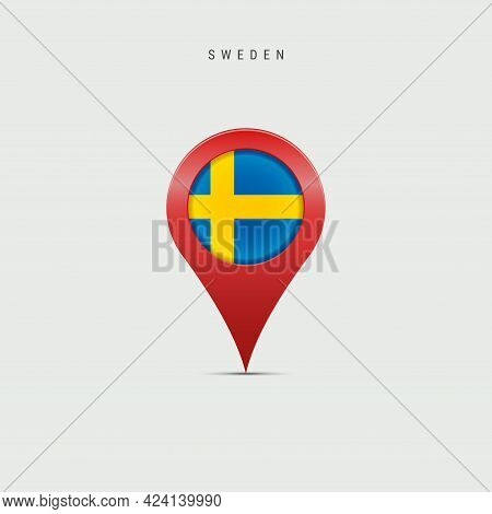Teardrop Map Marker With Flag Of Sweden. Swedish Flag Inserted In The Location Map Pin. Vector Illus