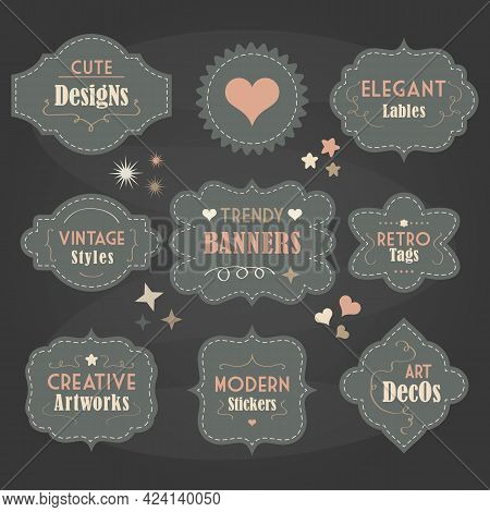 Cute Pastel Teal Color Vintage And Modern Different Shapes Banners And Message Boards With Dashed Bo