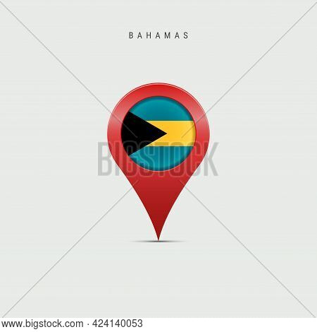 Teardrop Map Marker With Flag Of Bahamas. Bahamian Flag Inserted In The Location Map Pin. Vector Ill