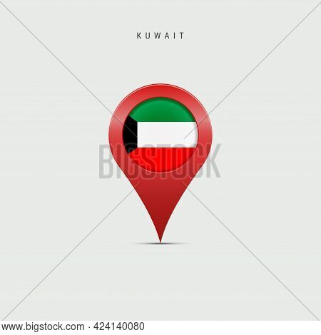 Teardrop Map Marker With Flag Of Kuwait. Kuwaiti Flag Inserted In The Location Map Pin. Vector Illus