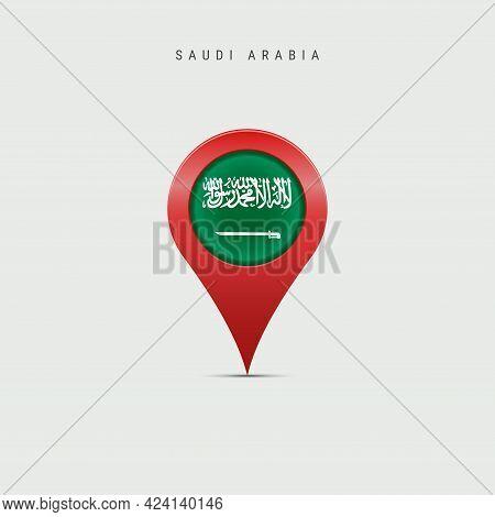 Teardrop Map Marker With Flag Of Saudi Arabia. Saudi Arabian Flag Inserted In The Location Map Pin.