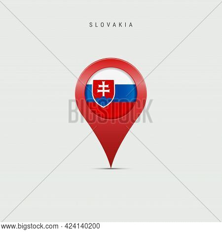 Teardrop Map Marker With Flag Of Slovakia. Slovak Flag Inserted In The Location Map Pin. Vector Illu