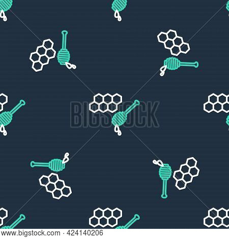 Line Honeycomb With Honey Dipper Stick Icon Isolated Seamless Pattern On Black Background. Honey Lad