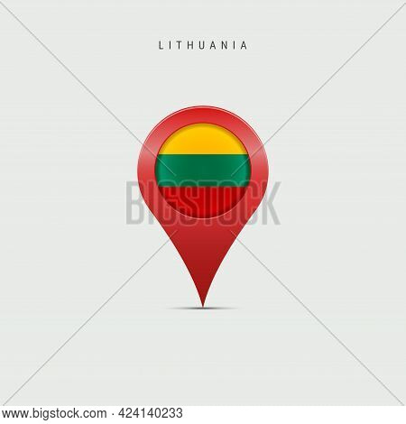 Teardrop Map Marker With Flag Of Lithuania. Lithuanian Flag Inserted In The Location Map Pin. Vector