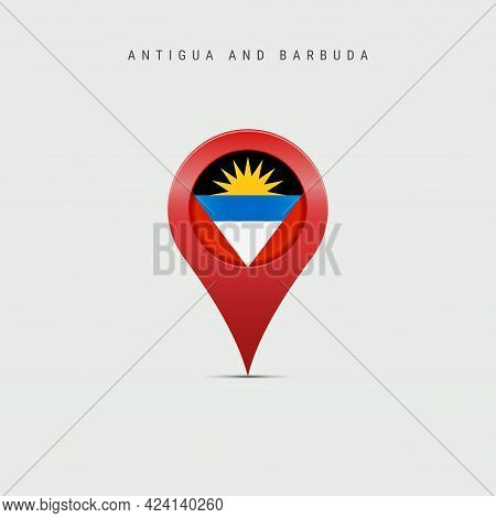 Teardrop Map Marker With Flag Of Antigua And Barbuda. Antiguan Barbudan Flag Inserted In The Locatio