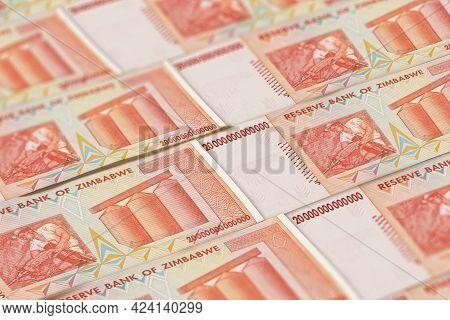 Money Of Zimbabwe. Zimbabwean Dollar Bills. Zwl Banknotes. 20 Trillions Dollars. Business, Finance,