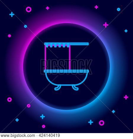 Glowing Neon Line Bathtub With Open Shower Curtain Icon Isolated On Black Background. Colorful Outli