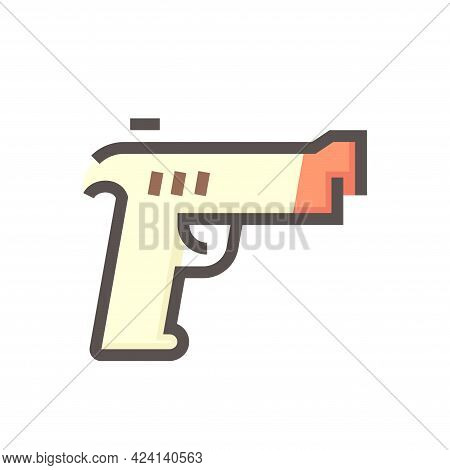 Hand Gun Or Pistol Vector Icon. Gun Is Automatic Machine Weapon Consist Of Caliber, Safety, Grip, Tr