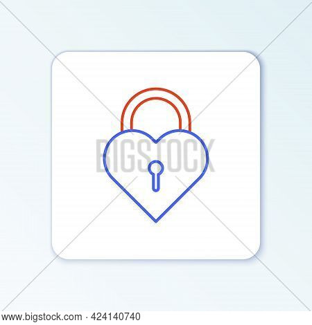 Line Castle In The Shape Of A Heart Icon Isolated On White Background. Locked Heart. Love Symbol And