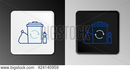 Line Recycle Bin With Recycle Symbol Icon Isolated On Grey Background. Trash Can Icon. Garbage Bin S
