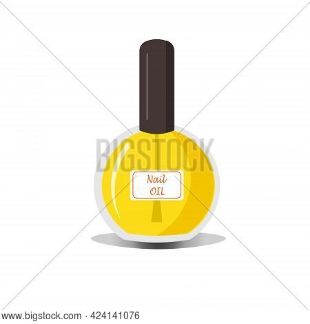 Nail Oil In A Glass Vial. Cosmetics For Manicure And Nail Care. Vector Illustration For Nail Salons,