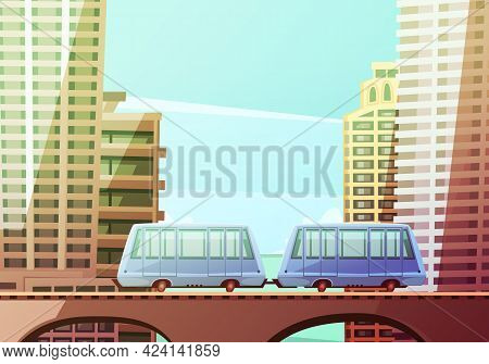 Miami Downtown Cartoon Composition With Two Wagons Of Suspended Monorail On Front And Skyline Backgr