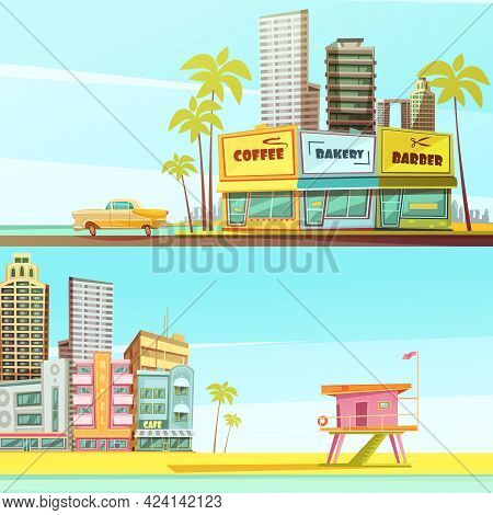 Miami Beach Horizontal Banners In Cartoon Style With Sea Shore Barber Bakery Cafe Lifeguard Cabin Fl